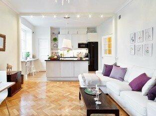 Thiết kế bếp liền phòng khách tiết kiệm không gian