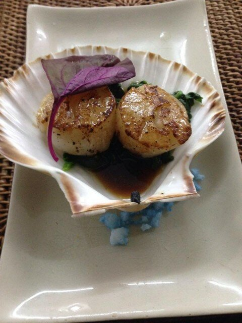 Mouth Watering Seared Scallops with Spinach and Ponzu Yuzu