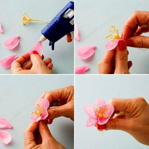 Как сделать из гафрированной бумаги цветок